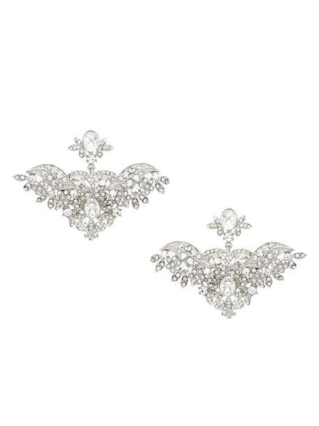 women embellished earrings grey copper metallic jewels