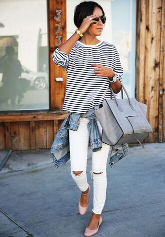 jeans black and white striped shirt denim jacket grey bag pink flats distressed white jeans blogger sunglasses