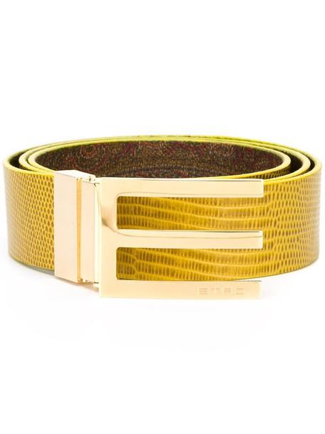 Etro reversible belt, Women's, Size: 85, Yellow/Orange, Leather