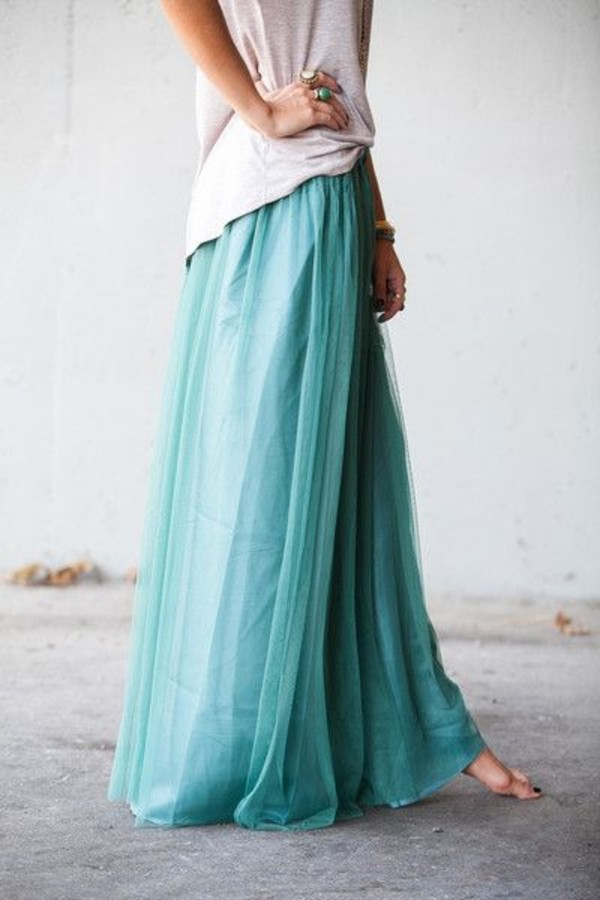 Skirt: maxi dress, maxi skirt, blue skirt, teal, ocean, cute, cute ...