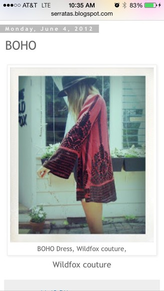 dress mini dress wildfox couture boho hippie red dress black bell sleeve dress bell sleeved dress tunic dress