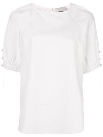 t-shirt shirt women pearl white cotton top