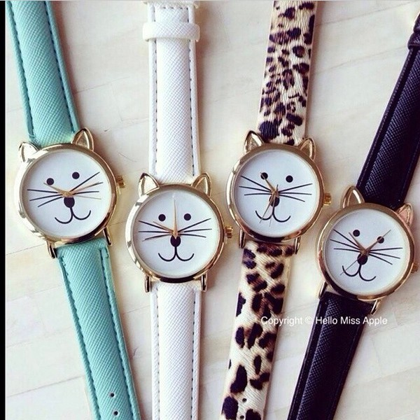 jewels watch cats meow leopard print