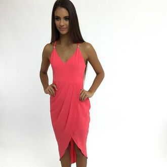 dress coral coral dress formal dress prom dress cocktail dress peppermayo
