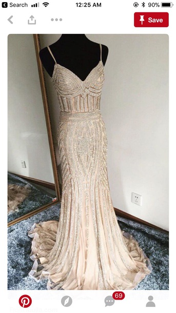 dress rhinestones gold prom dress