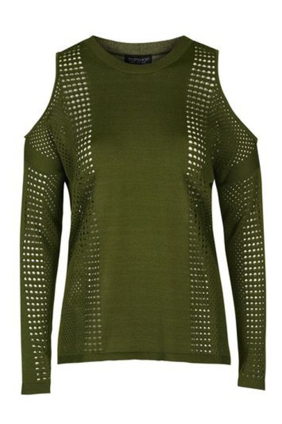 Topshop jumper mesh cold khaki sweater