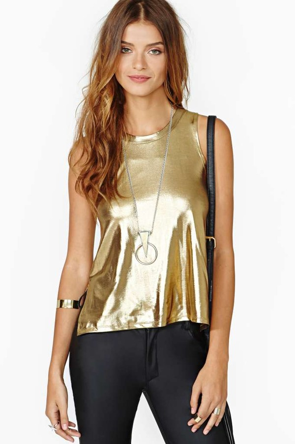 blouse gold shiny