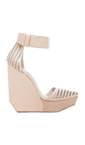 shoes wedges high heels tan