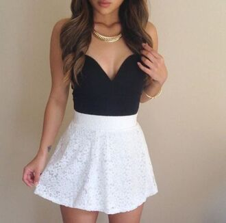 skirt skater skirt white waist band elastic lace overlay texture