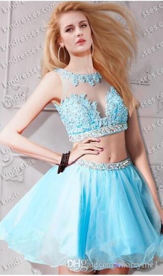 dress 2 piece skirt set 2 piece prom dress 2 piece short set two-piece short tulle prom dress lace beaded prom dress short blue dress