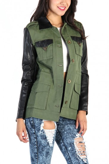 LoveMelrose.com From Harry & Molly | FAUX LEATHER SLEEVE ARMY JACKET-OLIVE
