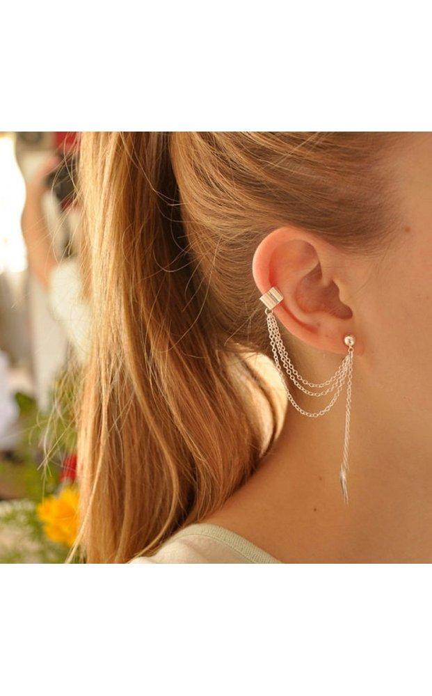 Silver leaf chain tassel ear cuff