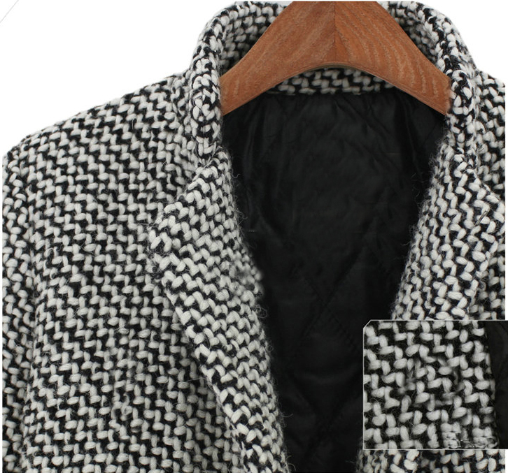 Black White Notch Stand Collar Long Sleeve Oversize Houndstooth Coat - Sheinside.com