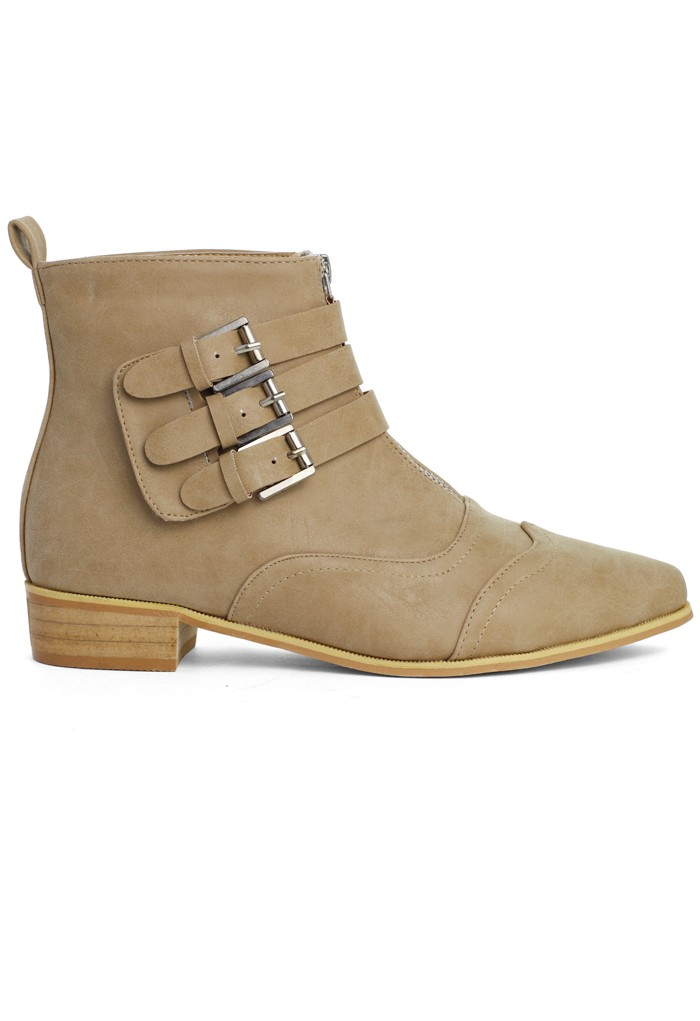 Buckled Point Toe Ankle Boots in Tan - Retro, Indie and Unique Fashion