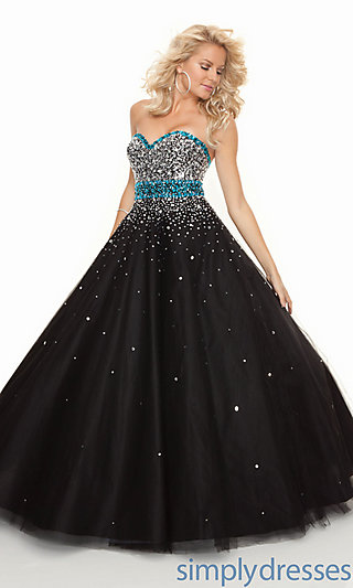 Strapless Black Ball Gowns, Mori Lee Prom Gowns - Simply Dresses