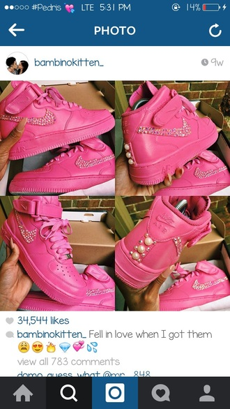 shoes nike pink shoes pearls