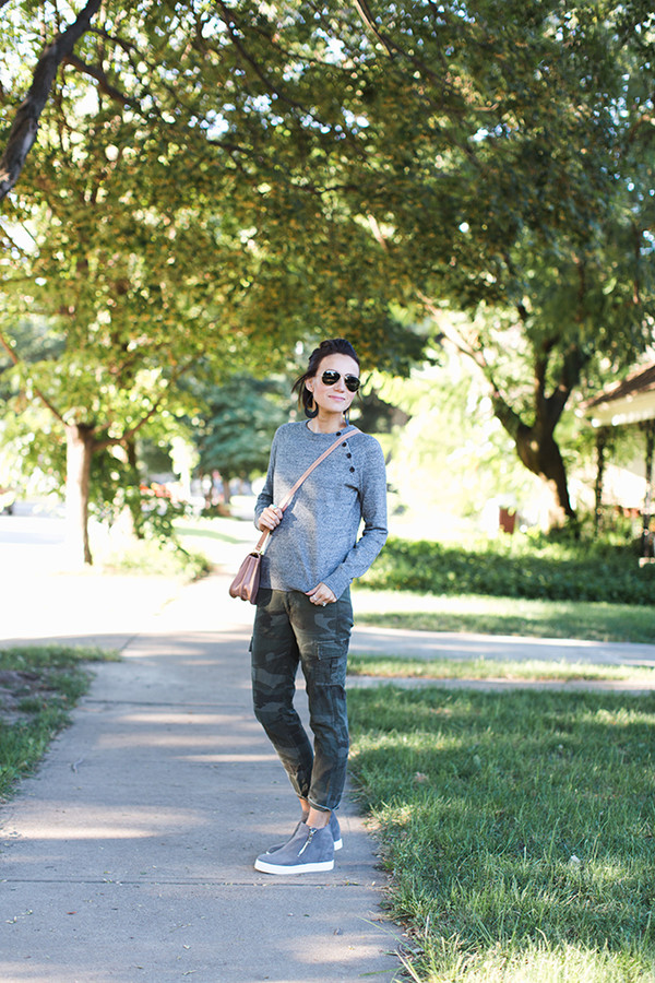 one little momma blogger sweater pants shoes bag sunglasses jewels camo pants grey sweater crossbody bag fall outfits
