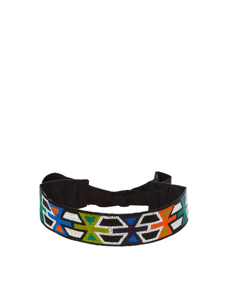 ANDREW GN Geometric bead-embellished belt in green / multi