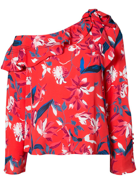 TANYA TAYLOR blouse women floral print silk red top