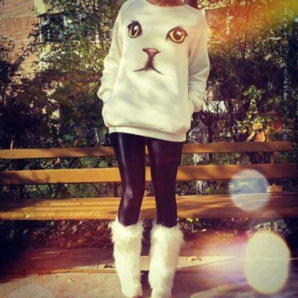 sweater cats white cat dress
