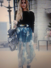 skirt,see through,opaque,maxi,blue