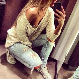 ripped jeans converse jeans sweater rips iphone vans white prom dress chiffon cute light ripped winter outfits outfit boon blouse