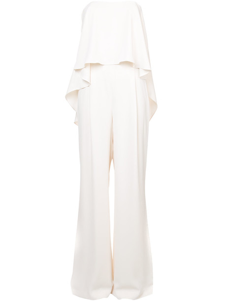 Halston Heritage strapless drape jumpsuit - White