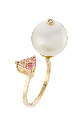 pearl ring gold yellow rose jewels
