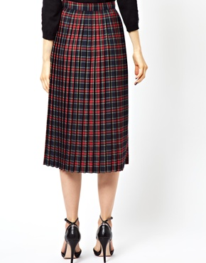 ASOS | ASOS Midi Skirt in Pleated Tartan Check Print at ASOS