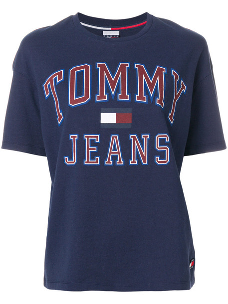 tommy jeans t-shirt shirt t-shirt women cotton print blue top