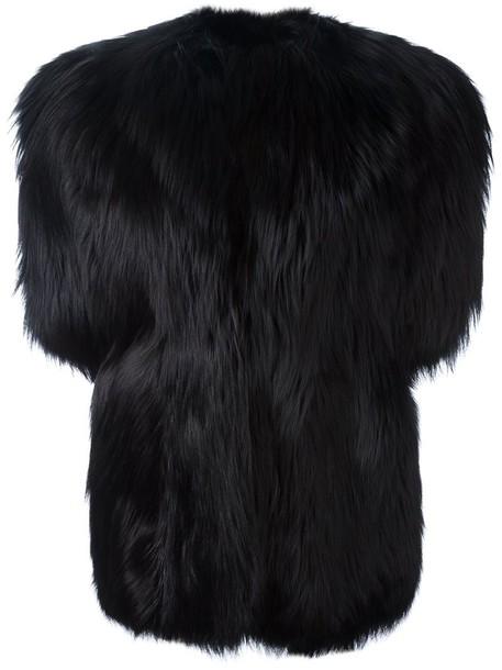 Saint Laurent coat short fur fox women black silk wool