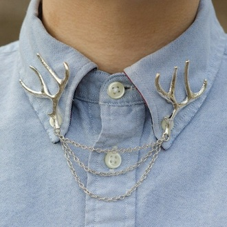 jewels antlers deer chain nature shiny girly cute jewlery jewelry fashion collar shirt collared shirts shiny silver metallic tumblr girl