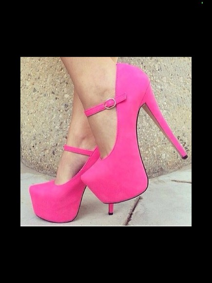 adorable mary jane girly pink pumps girly shoes hot pink