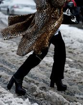 pants,tumblr,black pants,flare pants,nyfw 2017,fashion week 2017,fashion week,streetstyle,boots,black boots,high heels boots,platform boots,coat,printed coat,fur coat,leopard print,animal print