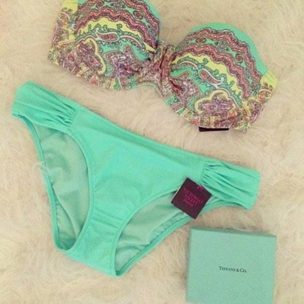 ac7db4a2dea swimwear bikini victoria s secret gorgeous underwear pants blue light blue  aqua summer yellow pink cute girly