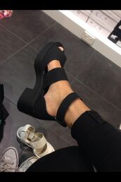 shoes,black,heels,sandals,straps,rebecca fox,black heels,black sandals,flat sandals,flatforms,flatform sandals,black flatforms,beautiful,summer,cute,black chunky cut out shoes,fashion,style,retro,feet,gladiators,dress,suede,black shoes,platform shoes,chunk,chunky,modern,chic,girly,grunge,edgy,stylish,double strap