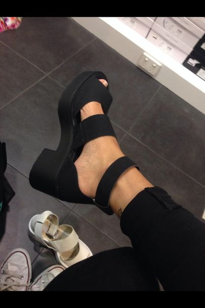 shoes, black, heels, sandals, straps