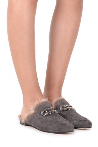 shoes fur slippers mules grey shoes flats