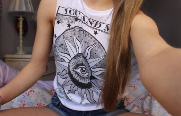 sun tank top t-shirt black and white eye swag