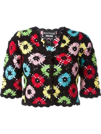 cardigan cropped crochet black sweater