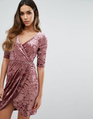 Club L Wrap Front Crushed Velvet Dress at asos.com