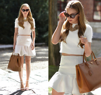 skirt all white everything crop tops white skirt white top sunglasses leather leather bag jewelry high waisted white white dress