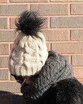 hat,women hat,alpaca hat,alpaca women hat,knit hand made hat,teen hat,pom pom beanie,beige hat,beige knit women hat,knit woman hat,fur hat with pompom,beanie chunky hat