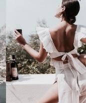 top,summer top,white top,white,summer,summer dress,summer outfits,white lace,white lace dress,lace,lace top,ruffle,ruffled top,ruffle dress,white blouse,cut-out,cut-out dress,cutout back,cut-out back