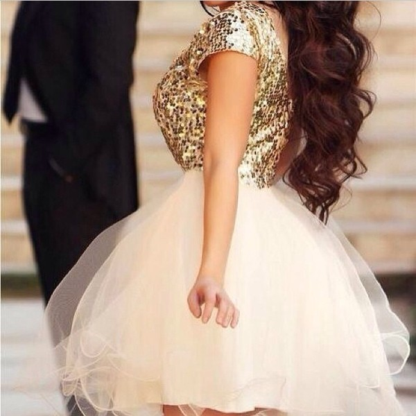 Cap Sleeve Sequin and Tulle Dress - View All Dresses - Dresses ...