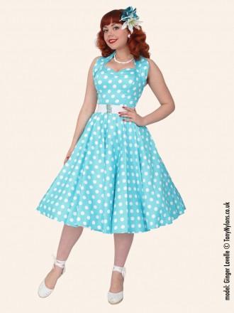 1950s halterneck turquoise polkadot dress