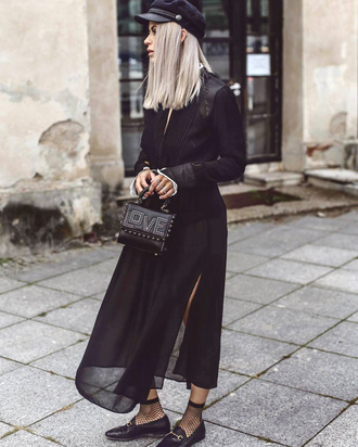 dress slit dress tumblr maxi dress black dress see through shoes loafers black loafers mesh socks bag all black everything fisherman cap hat