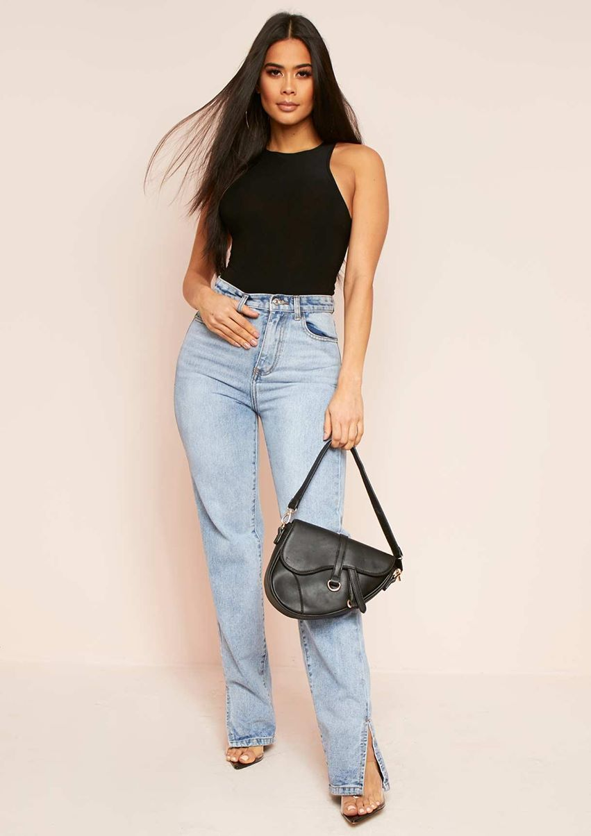 Perrie Denim Straight Leg Split Detail Jeans