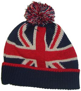 Mens boys beanie hat bobble hat with pom pom union jack design stocking filler