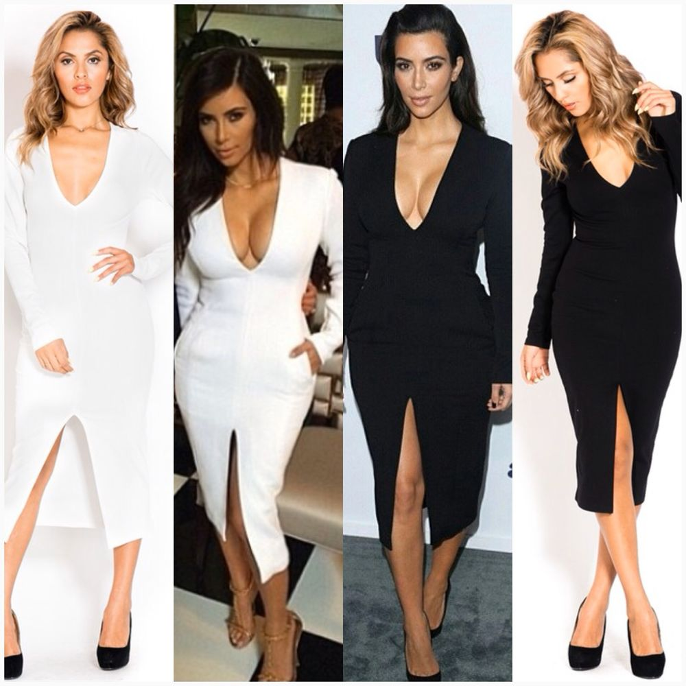 Kim Kardashian Long Sleeve Bodycon Pencil White Celebrity Evening Dresses | eBay